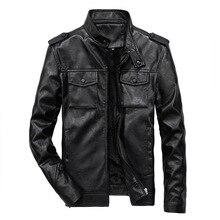 Мужская осенне-зимняя куртка из искусственной кожи, пальто для мужчин, повседневная мотоциклетная кожаная верхняя одежда с воротником-стойкой, винтажные приталенные куртки для мужчин