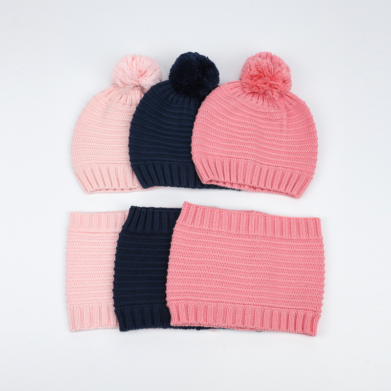 Hat Scarf Set Boy Girl Kid Winter Autumn Knit Beanie Pompon Warm Cotton Skiing Outdoor Accessory Baby Toddler