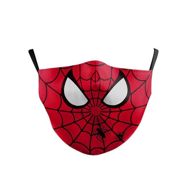 Cartoon Cute Superhero Spiderman Superman Captain America Kids Mask Print Face Masks Reusable Children Mask Fabric Dust Masks 1