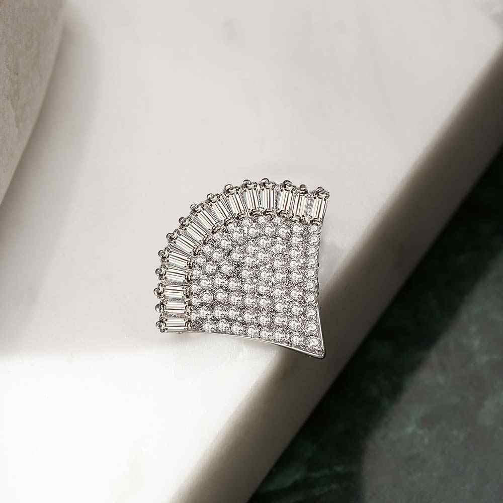 Viennois Geometria Fan a Forma di Spilla Spilli Nuovo Gioelleria raffinata e alla moda Zircone Per Le Donne