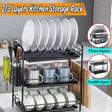 Küche Lagerung Rack 2/3 Tiers Küche Rack Gericht Abtropffläche Waschbecken Rack Drip Tray Platten Besteck Tassen Halter Küche Regal Veranstalter