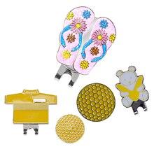 3 шт. зажимы для шляп для гольфа со съемным магнитным мячом для гольфа(дизайн рубашки для гольфа и стиль медведя и тапочки