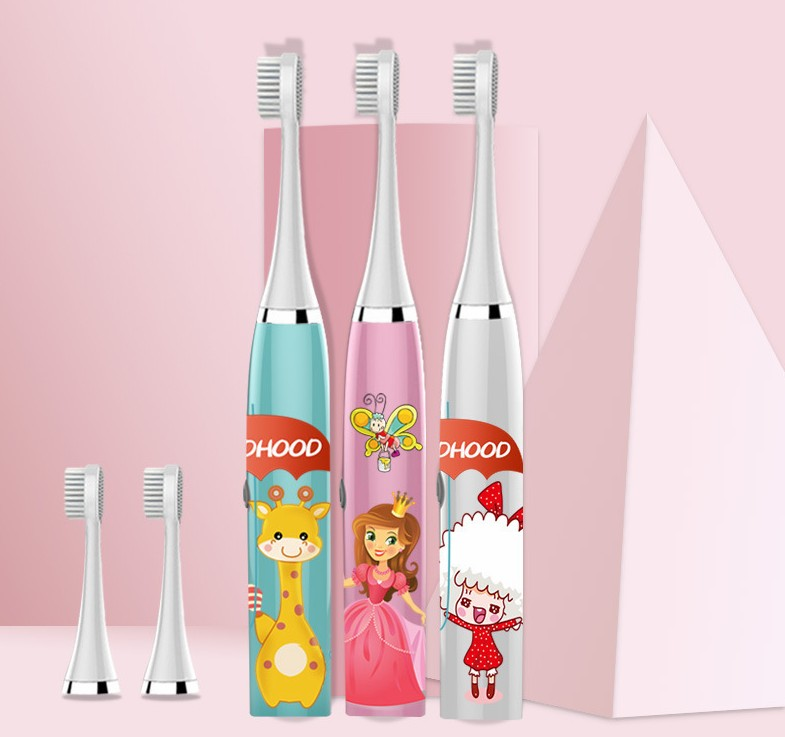 Professional Electric Toothbrush Cartoon Pattern Waterproof Tooth Brush Oral Cleaning for Kids battery powered image