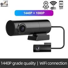 2k mini carro wi fi traço cam frente 1440p dvr carro câmeras duplas gps tracker visão noturna gravador rotativo lente monitor de estacionamento