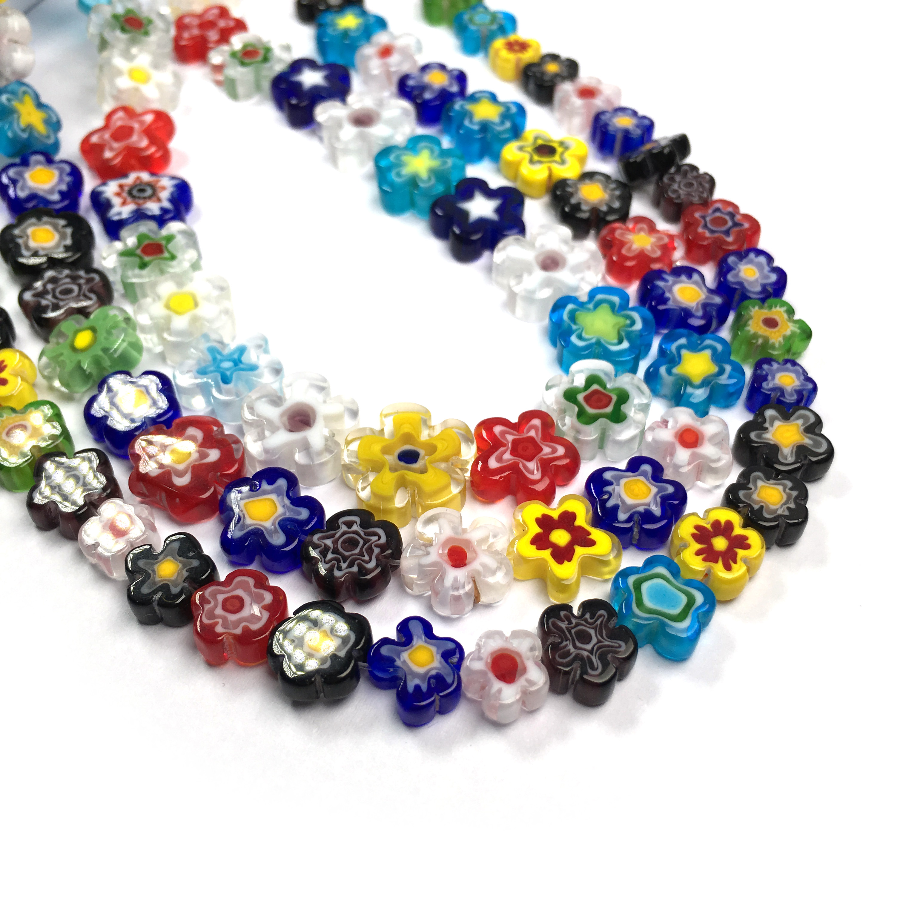 Flower Lampwork Bracelet Glass Flower Bracelet 20 cm Beaded Salmon Bracelet Lampwork Beads Flower