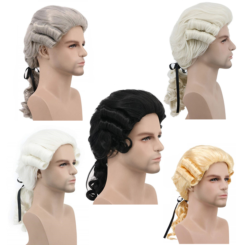ANOGOL Grey White  Black Lawyer Judge Baroque Curly Male Costume Wigs Deluxe Historical Long Synthetic Cosplay Wig For Halloween