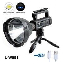 Potente linterna LED de 200000LM, foco de luz de trabajo, reflector, 4 modos, recargable por USB, portátil