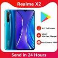 Оригинальный Realme X2 сотовый PhoneSnapdragon 730G 64MP Камера 6,4 ''Full Экран телефон NFC VOOC 30 Вт Быстрый Зарядное устройство для мобильного телефона