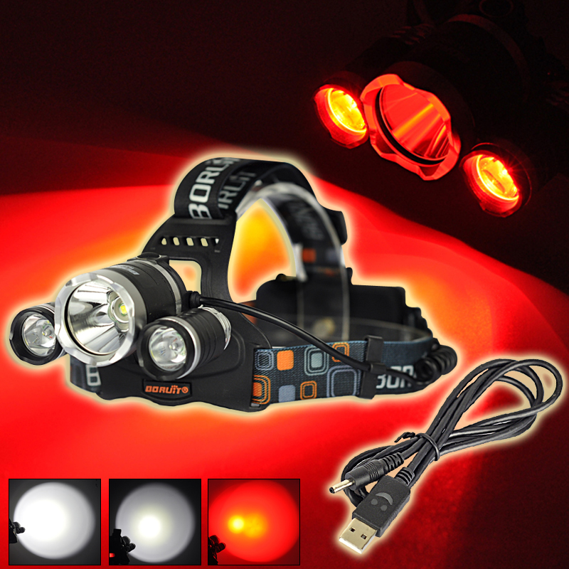 Купить с кэшбэком BORUIT RJ-3000 Red XML T6 XPE LED Headlamp 18650 USB Charger Headlight 3-Mode Waterproof Head Torch Camping Hunting Flashlight