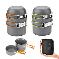 Ultraleve acampamento panelas utensílios de mesa ao ar livre conjunto caminhadas piquenique mochila acampamento talheres pot pan 1-2persons