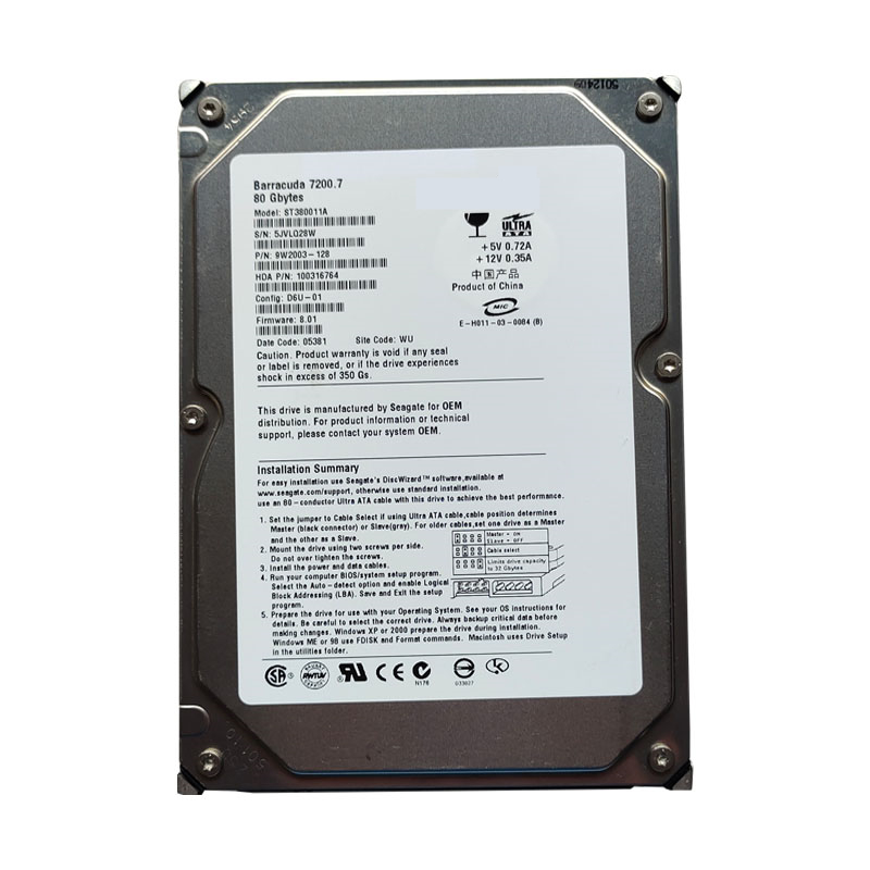 """New HDD For Seagate Brand 80GB 3.5"""" 7.2K IDE 2MB 7200RPM For Internal Hard Disk For Desktop Computer HDD For ST380011A 2"""