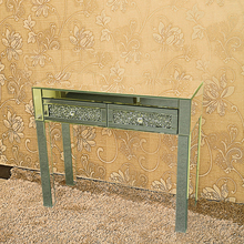 Mirrored Dresser Sparkly Crystal 2 Drawers Dressing Table Console Vanity Table Bedroom Furniture