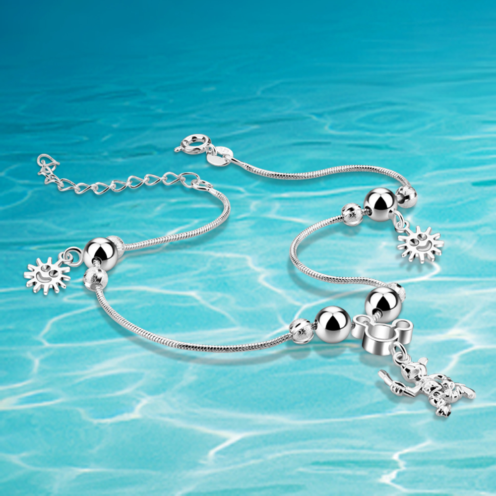 Cute little Mickey anklet. 925 sterling silver anklet for women. Female foot chain silver jewelry