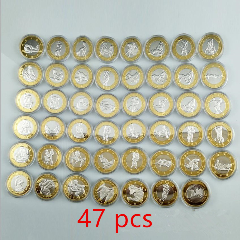 47 Pcs Full Set Sexy Coins 6 Euros Lady Man Bi Metal Silver Gold Plated 32 Mm Valentine Lover Gift Adult Games Decoration Coin