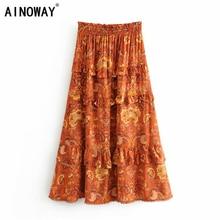 Vintage chic fashion women Hippie beach Bohemian floral print ruffles skirt High Elastic Waist Maxi  A Line Boho Skirt Femme