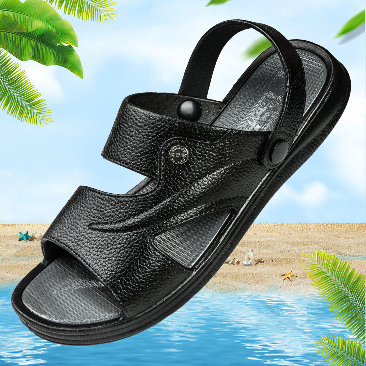 Summer New Men Casual Sandals Beach Classic Pu Leather Slip On Male Flat Sandals Black Mens Summer Sandals