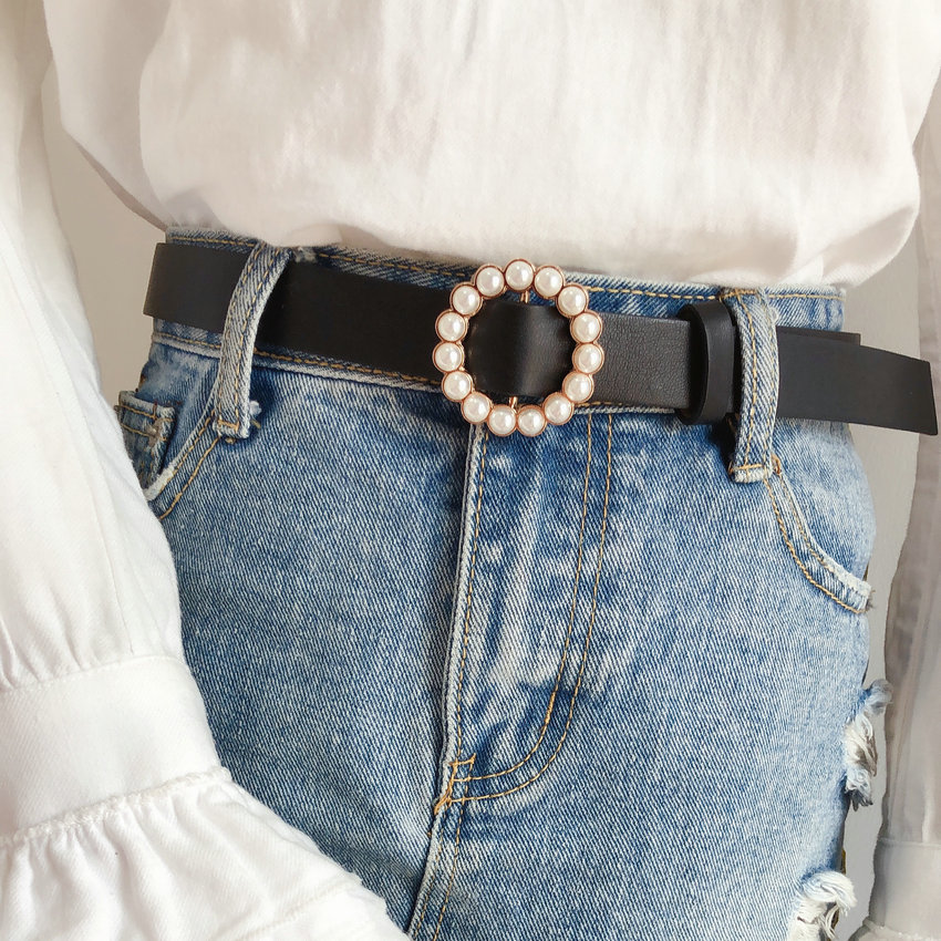 Dressing Ladies Leather Professional Dress Belt Pearl Round Pin Buckle Leather Wild Jeans With Narrow Fashion Students