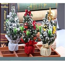 20cm Mini Christmas Decoration Tree Ribbon Day Desktop