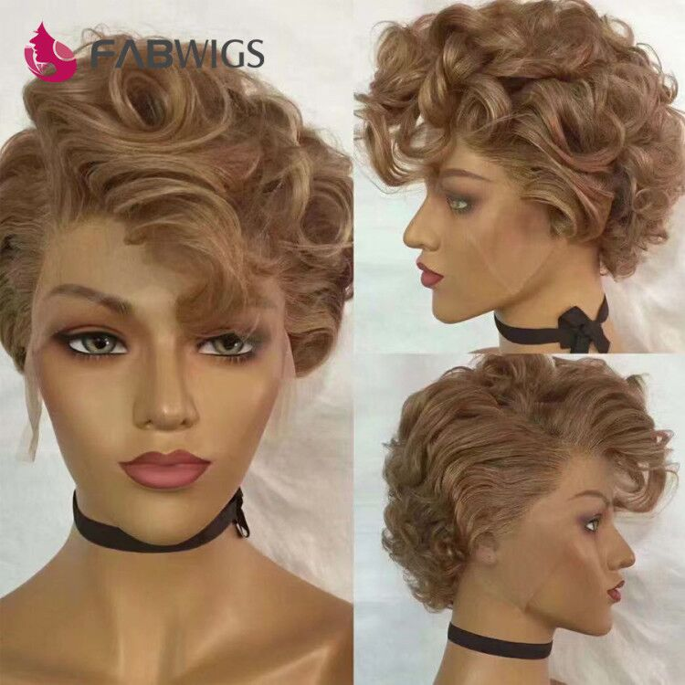 Fabwigs 613 Pixie Cut Wig Short Bob Lace Front Wig Honey Blonde Lace Wigs 13X6 Lace Frontal Wigs Pixie Wig Human Hair Wavy
