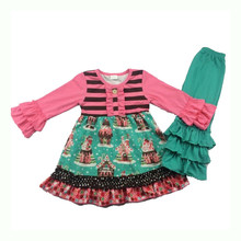 Natal gingerbread menina boutique design conjunto persnickety menina giggle lua remake roupas
