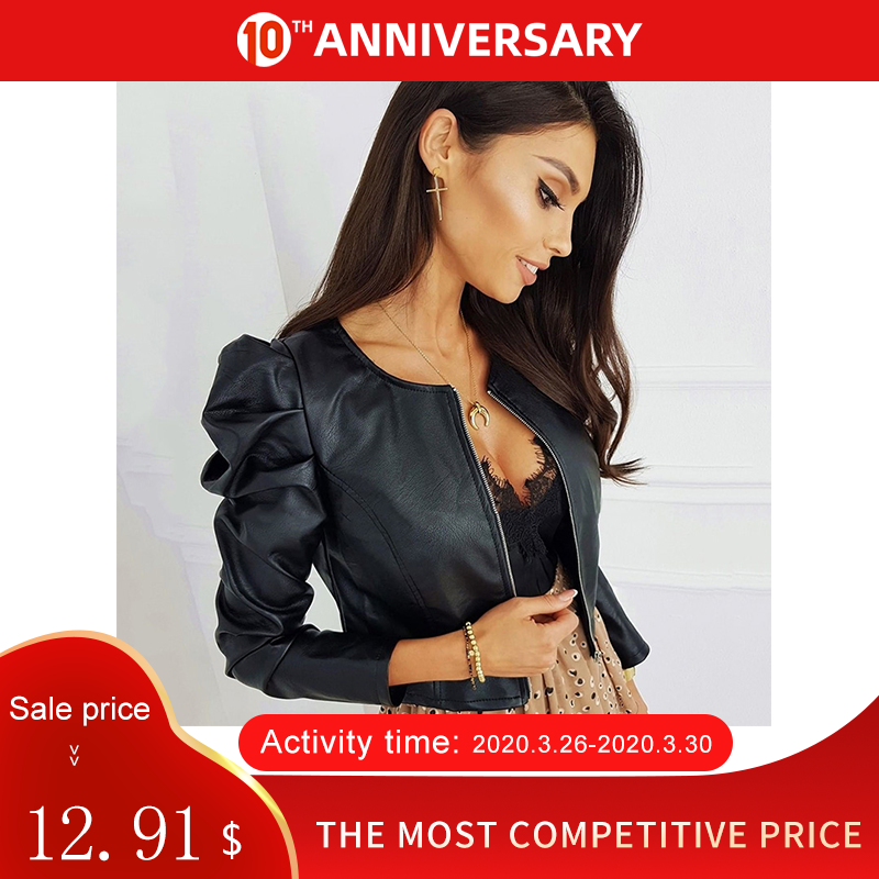 Black Faux Leather Women Short Jacket Tops O Neck Puff Sleeve Female PU Coat 2020 Spring Autumn Casual Fashion Ladies Jackets