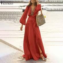 Zanzea verão maxi vestido feminino puff manga vestido de verão sexy alta divisão vestidos feminino casual v pescoço com cinto robe femme plus size