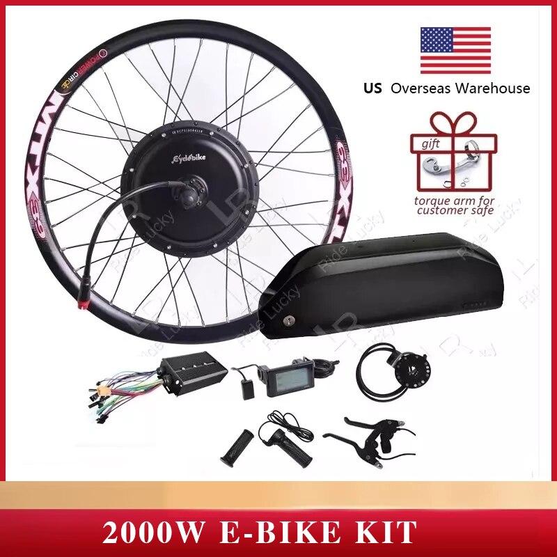 Kit de conversión de bicicleta eléctrica, velocidad de 60-75 KM/H, 48v-60v, 2000w, batería de litio de 52v y 17ah, kit de conversión de bicicleta eléctrica