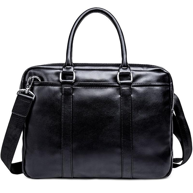 Simple Business Men Briefcase Handbag PU Leather Laptop Bag Fashion Casual Shoulder Bags Black Office Briefcase Male New XA634ZC