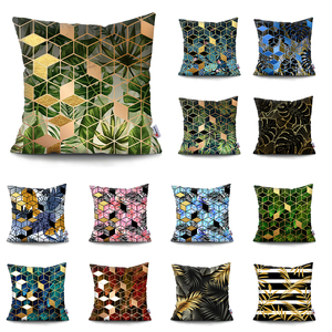 Geometric Coconut Tree pillow cover Gold Bronzing Plants Leaves Cushion Cover Throw Pillow Case Pillowcase Cushions for sofa