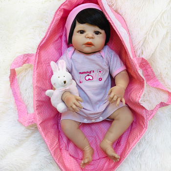 55cm Bebe Reborn Menina With 1pcs pink pacifier gift fashion all silicone Reborn Doll Alive Baby Doll Girl Educational DIY Toys