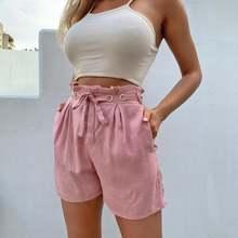 Женские шорты из 2020 хлопка и льна розовые бандажные новые
