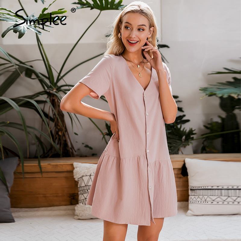 Simplee Casual Solid Summer Dress V-neck Asymmetrical Buttons Cotton Party Dress Work Wear Ladies Short Sleeve Office Dress 2020
