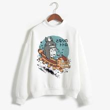 Spirited away totoro japoński kaptur kobiety bluza z kapturem Studio Ghibli bluza kawaii ponadgabarytowych kreskówka kobieta ulzzang anime tanie tanio ojuiyuhu COTTON Modalne CN (pochodzenie) Zima REGULAR Pełna Suknem Swetry Stałe Japan style Osób w wieku 18-35 lat Golfem