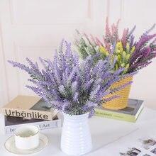 5 Branches Lavender 38cm Wheat Ears Romantic Purple Lavender 5 Heads Artificial Flower Face Flocking Plant Decoration For Vase
