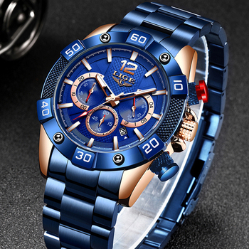 LIGE 2021 New Fashion Blue Mens Watches Top Brand Luxury Clock Sports Chronograph Waterproof Quartz Watch Men Relogio Masculino 4