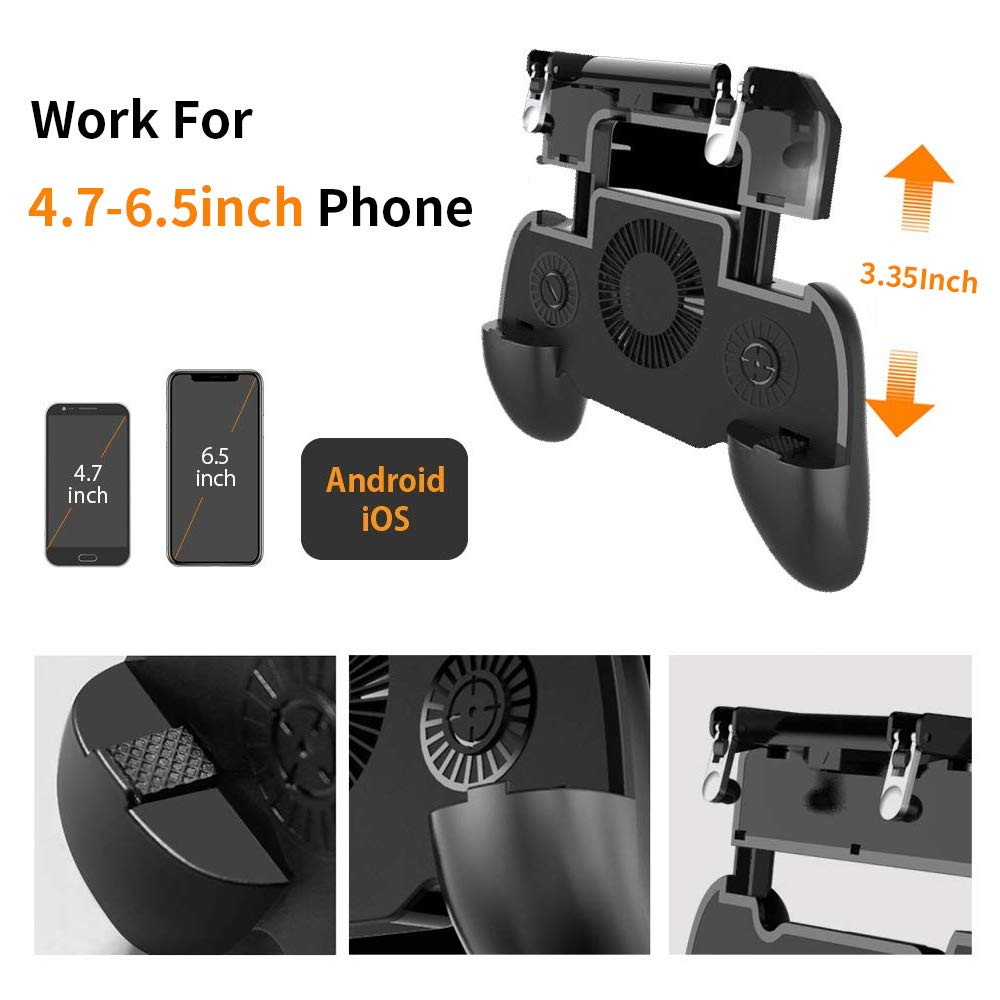 Купить с кэшбэком Controller gamepad joystick R1 L1 Shooter joypad game pad Cooler Fan with 2000/4000mAh Power Bank l1r1 for phone android iphone