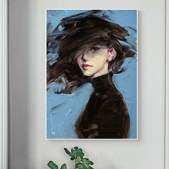 Woman on Blue Background Art Painting Printed on Canvas 3