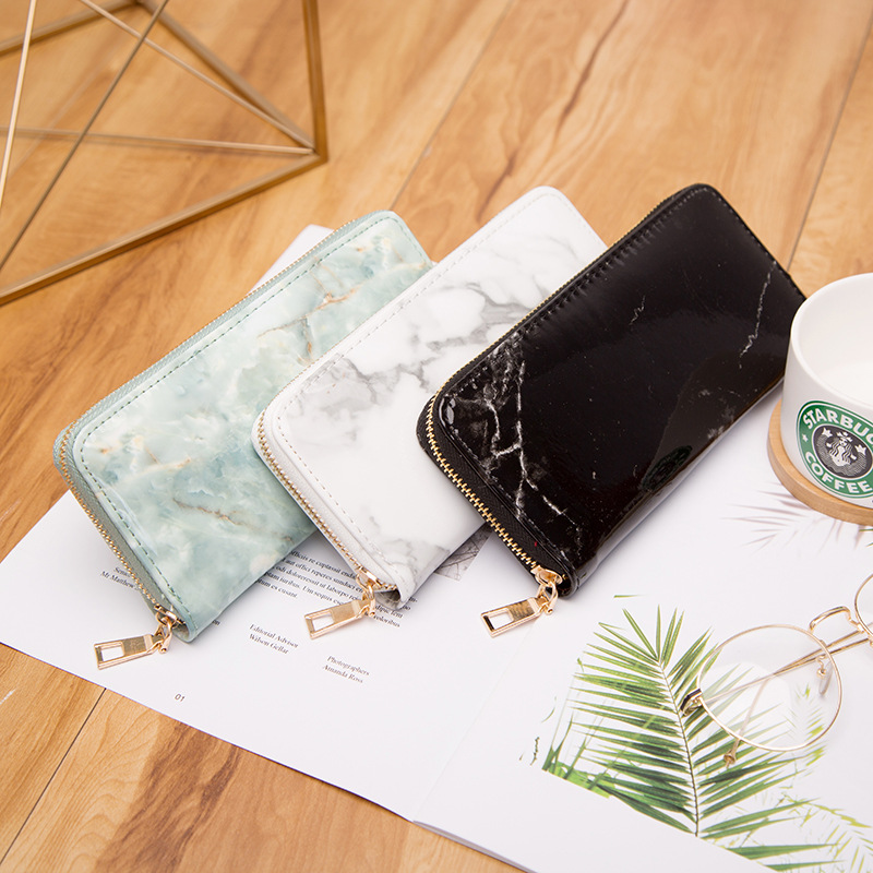 Casual Women Lady Wallets Purses Totes Feminina Marble Patent Leather Clutch Bags Girls Zipper Card Coin Money Holder Pouch Pack