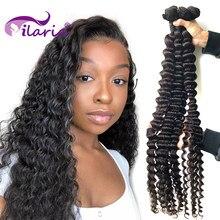 Ilaria feixes tecer cabelo brasileiro onda profunda 100% extensão do cabelo humano remy feixes de cabelo encaracolado 30 32 38 40 polegada frete grátis
