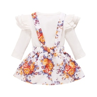 Baby Girl Tops Clothing Newborn Kids Baby Girls Outfits Clothes Top+Flower Print Suspender Skirt Suit
