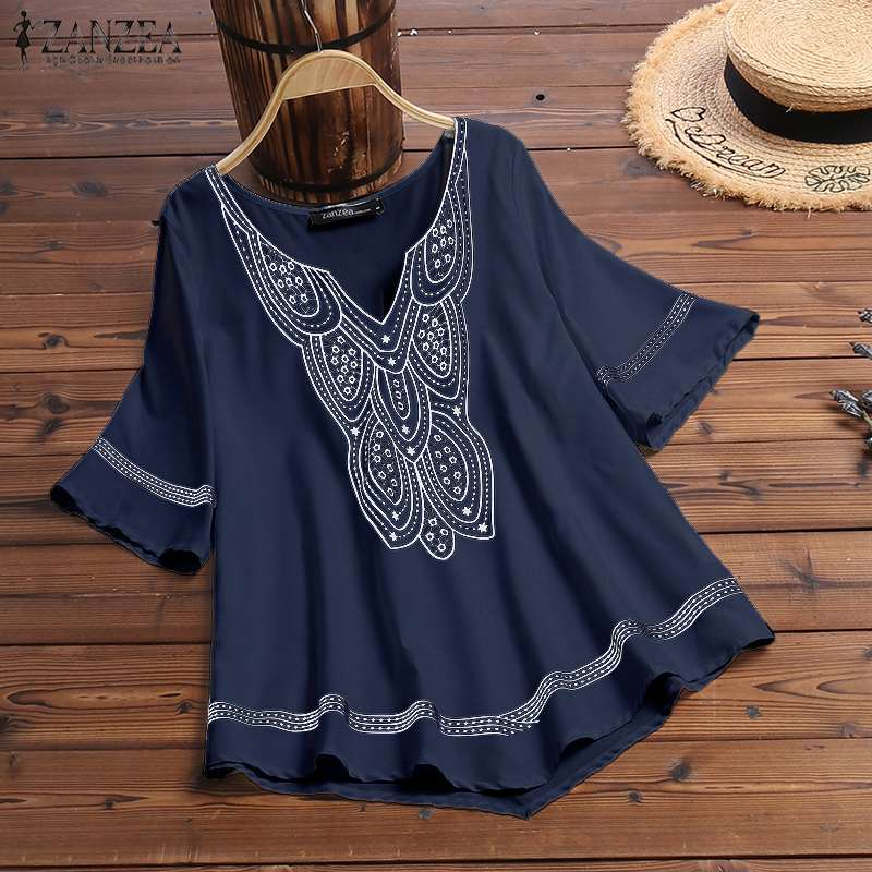 Bohemian Print Tops Women's Summer Blouse 2019 ZANZEA Casual Chemise Short Sleeve Shirts Sexy V Neck Work Blusa Plus Size Tunic