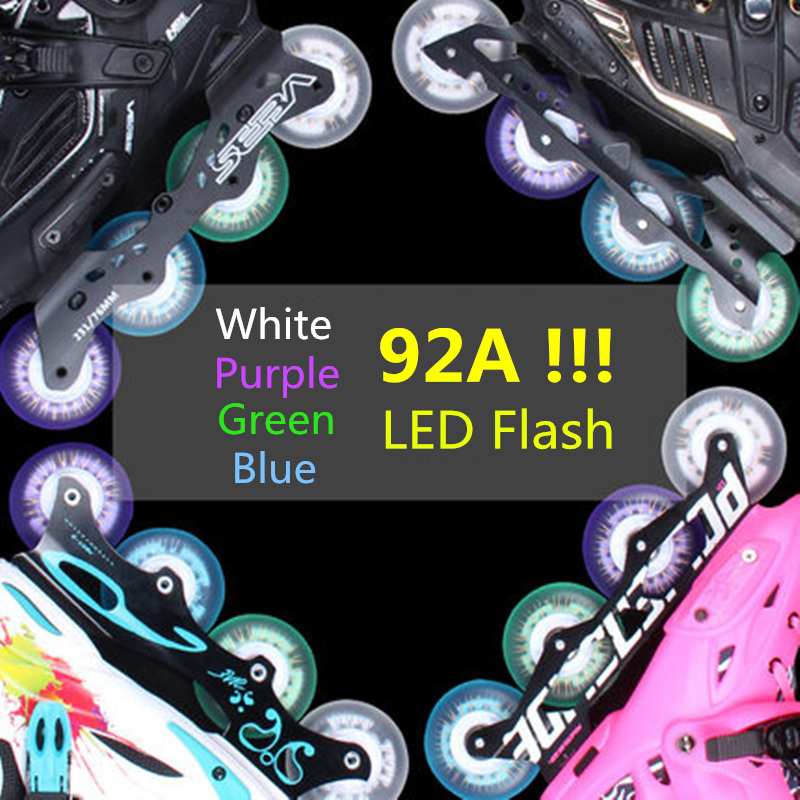 New Arrival! 92A Super Brightness LED Flash Wheel For Inline Skates 80mm 76mm 72mm Roller Skating Rodas Magnet Core 4 Pcs/lot