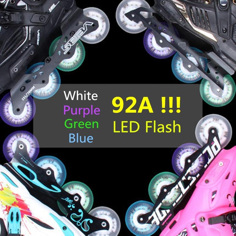 New Arrival! 92A Super Brightness LED Flash Wheel For Inline Skates 80mm 76mm 72mm Roller Skating Rodas Magnet Core 4 Pcs/lot
