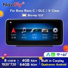 NaviFly – autoradio Android 10.0, 8 cœurs, écran IPS, Navigation GPS, NTG5.0, WIF, pour voiture Mercedes Benz classe C W205 (2014 – 2018)