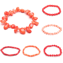 New Design Artificial Coral Beads Bracelet For Women Unique Lucky Bracelet Bangle Jewelry Gifts 18cm free shipping yulaili artificial precious stone factory unique design women costume beaded jewelry set