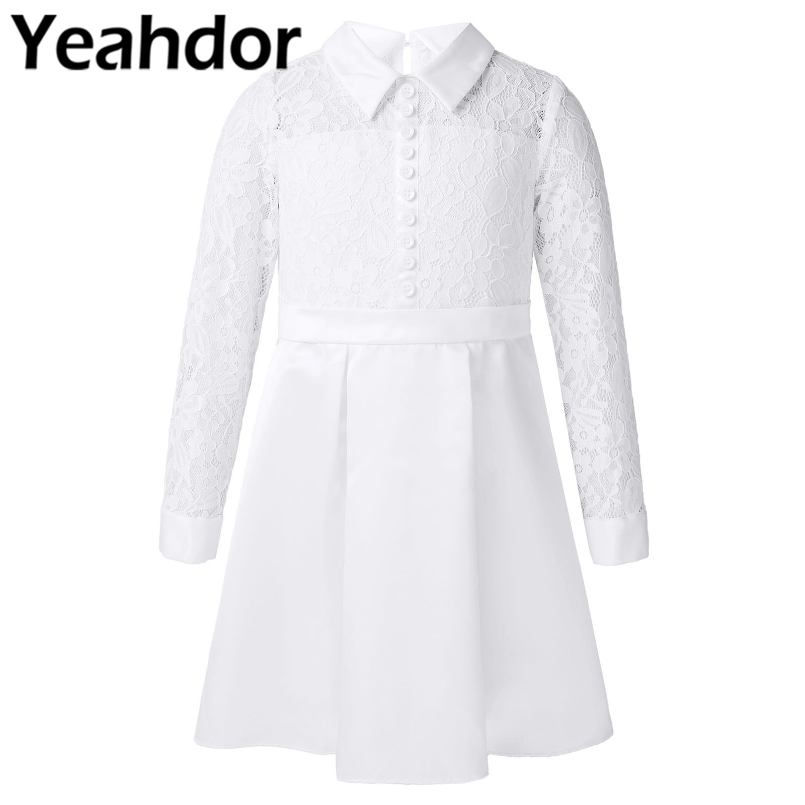 Kids Dresses for Girls Long Sleeve Lace Flower Girl Dresses Princess Dress Paty Gown Girl's Wedding Party Dress Bridesmaid