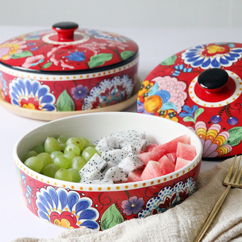 Creative bowl fruit salad bowl household tableware large size soup bowl bowl ceramic baked rice bowl European home furnishings