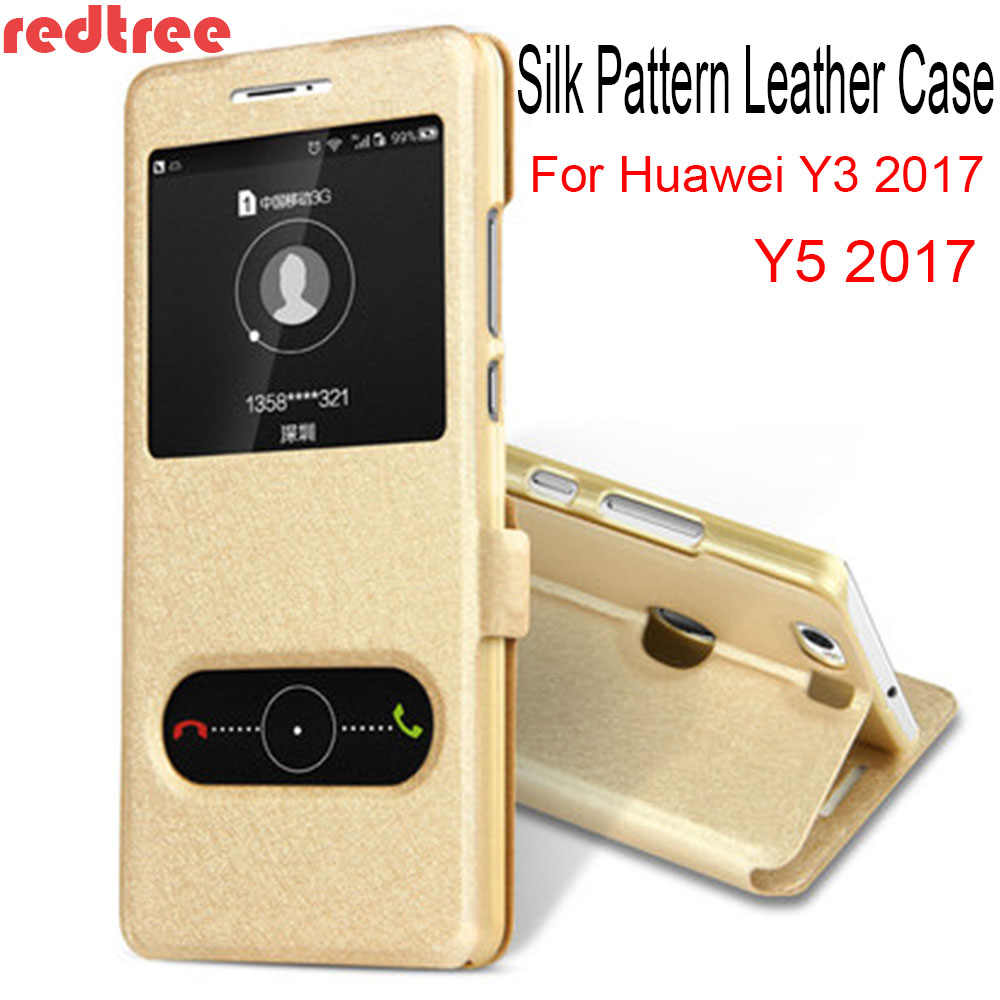 REDTREE Silk Pattern Case for Huawei Y3 2017 View Window Flip Cover Wallet Smartphone Leather Case for Huawei Y5 2017 Celular