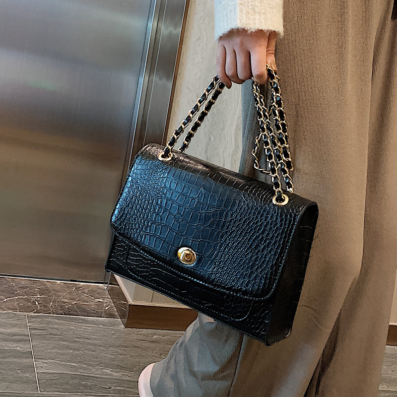 Vintage Stone Pattern Crossbody Bag 2020 New High Quality PU Leather Women's Designer Handbag Lock Chain Shoulder Messenger Bag
