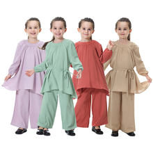 Suit Abaya Clothing Leg-Pants Muslim-Sets Southeast Asian Dubai Arab Loose Islamic Haleychan